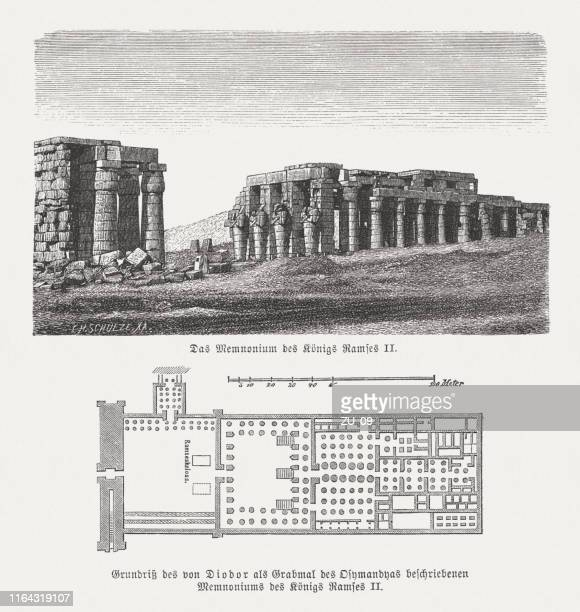ramesseum with ground plan, theban necropolis, egypt, woodcut, published in 1879 - thebes egypt stock illustrations