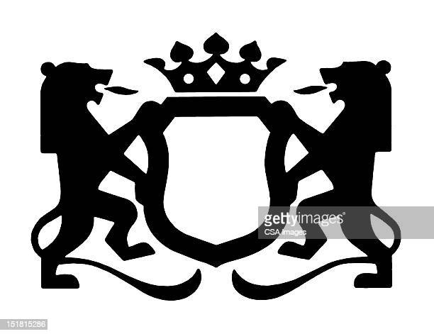 rampant lion crest - four objects stock illustrations