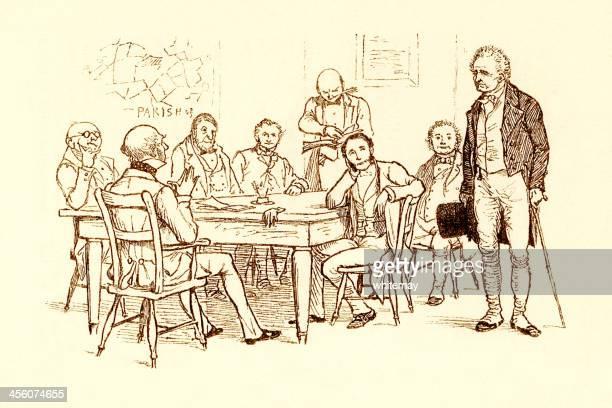 Randolph Caldecott illustration: old man meeting Parish Board of Guardians