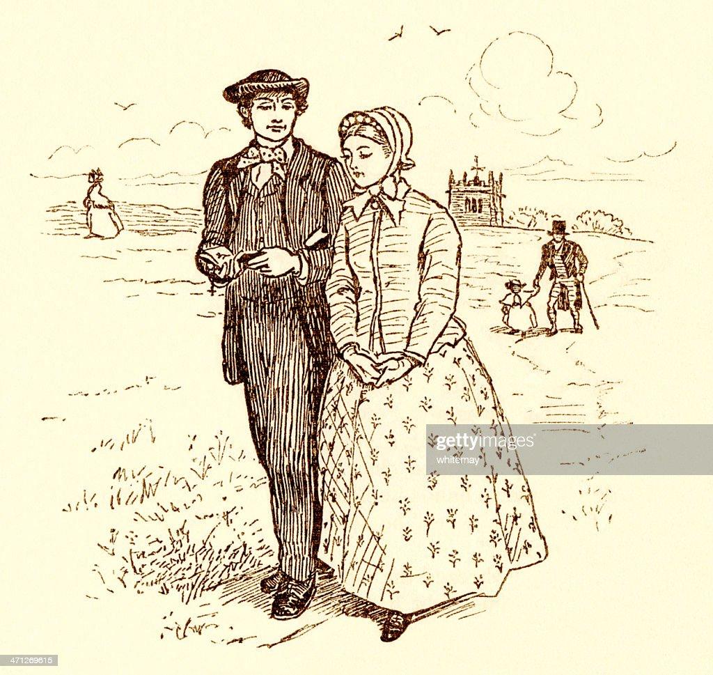 Randolph Caldecott ilustração-Jovem casal caminhando Victoria : Ilustração