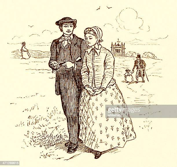 randolph caldecott illustration - young victorian couple walking - sunday best stock illustrations, clip art, cartoons, & icons