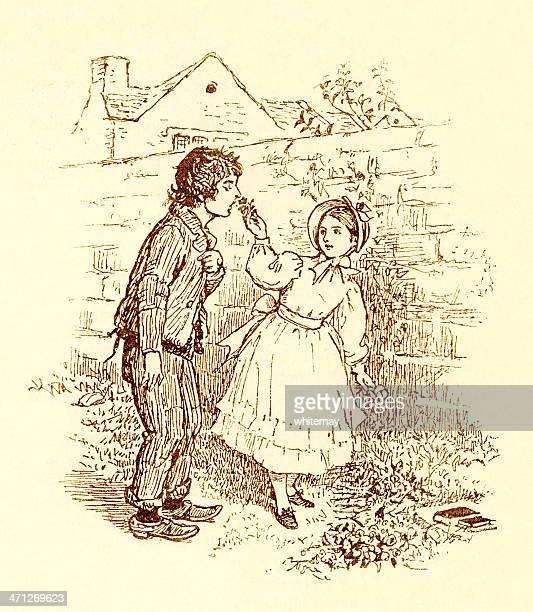 Randolph Caldecott - Lad sniffing flowers presented by young girl