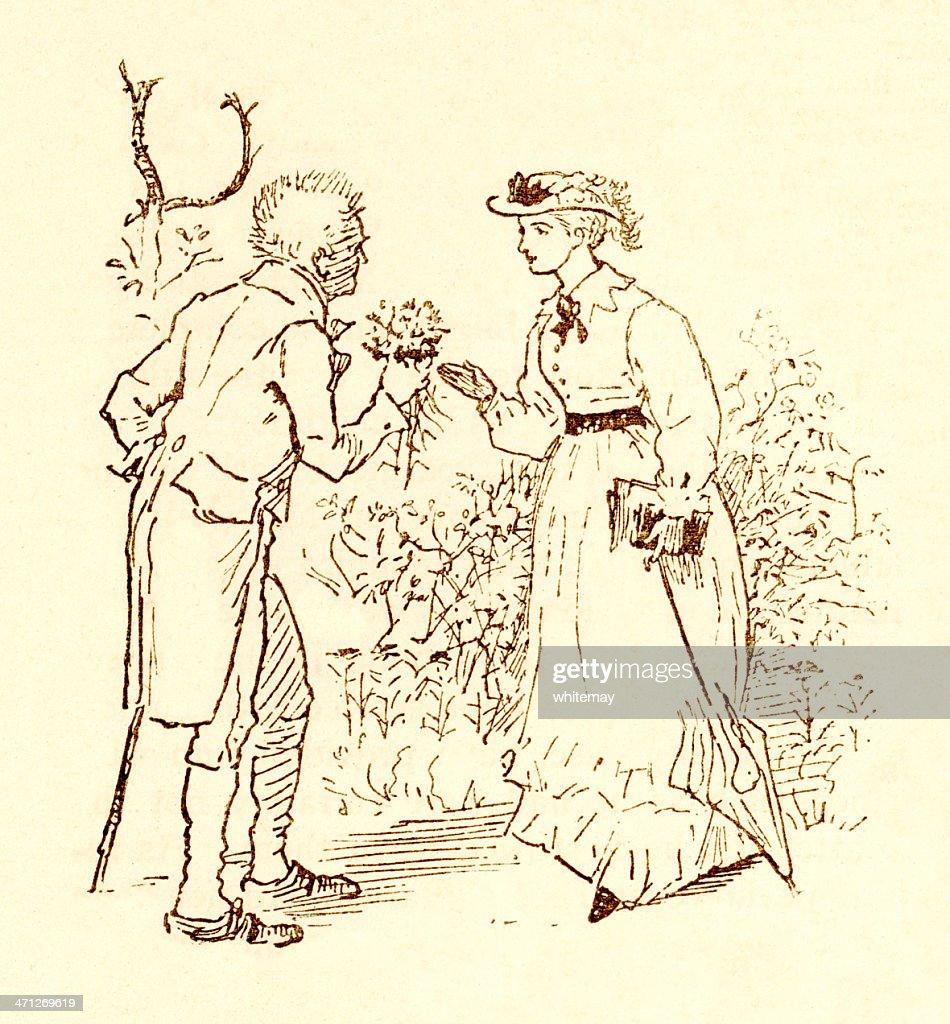 Randolph Caldecott-homem apresentando Maço de Flores a mulher : Ilustração