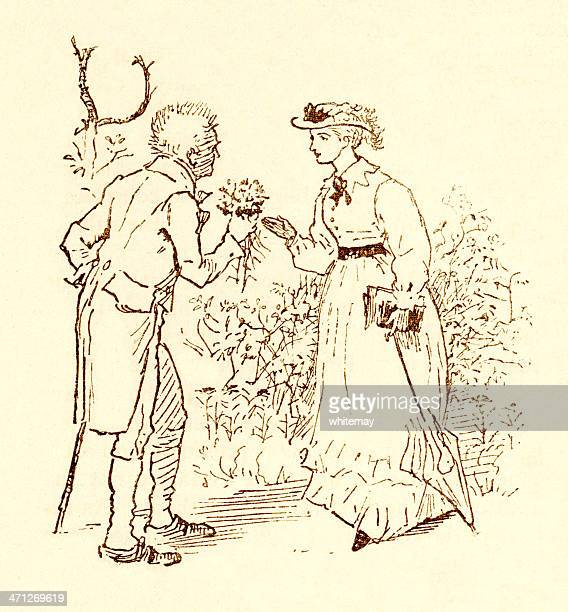 randolph caldecott - man presenting bunch of flowers to woman - sunday best stock illustrations, clip art, cartoons, & icons
