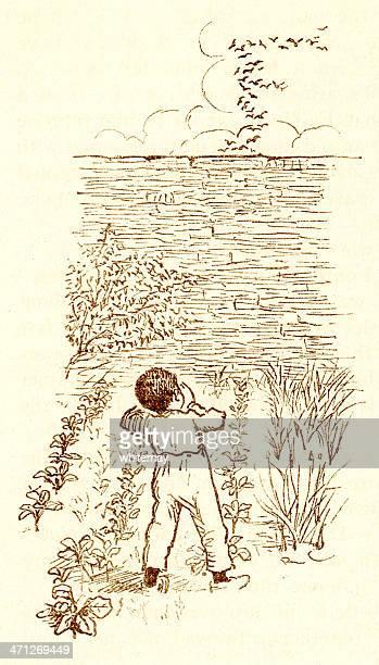 Randolph Caldecott sketch of a small Victorian boy scaring birds