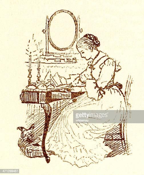 Randolph Caldecott sketch of a Victorian woman at her desk