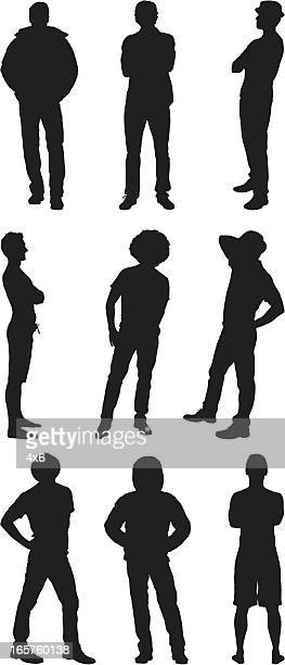 random casual men standing - hooded top stock illustrations