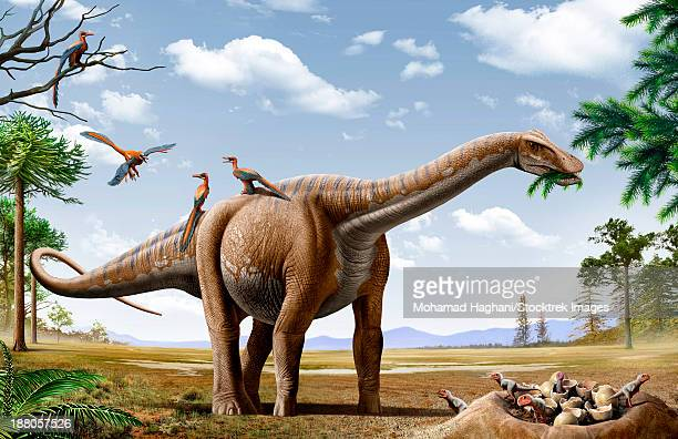 A Rapetosaurus is feeding from conifers leaf, with some Rahonavis on it's back and newborn Majungasaurus babies in their nest.