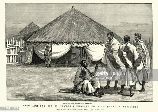 ras allula's house, adi teeklar, abyssinia, 19th century - ethiopia stock illustrations, clip art, cartoons, & icons