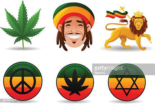 ilustrações, clipart, desenhos animados e ícones de rastafári conjunto - ethiopia