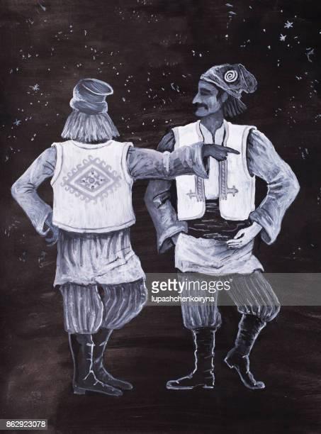 Raster illustration of scenic Hutsuls costumes