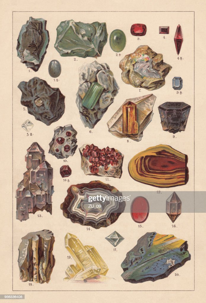 Raw gemstones, lithograph, published in 1893 : stock illustration