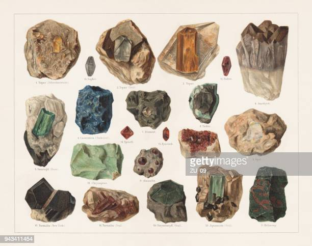 Raw gemstones, lithograph, published in 1897