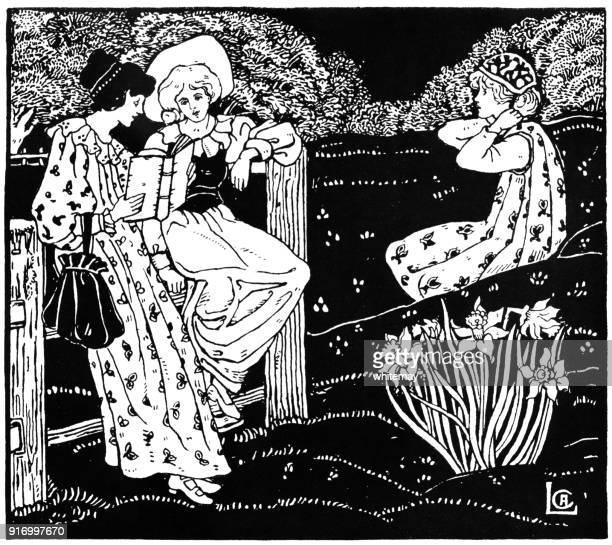 reading from herrick - celia a. levetus - poetry literature stock illustrations