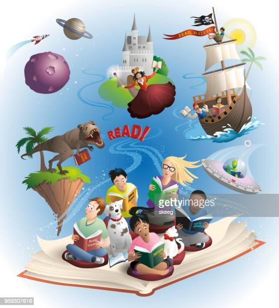 reading fun - imagination stock illustrations, clip art, cartoons, & icons