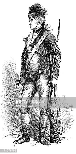 real american rifleman engraving - military uniform stock illustrations