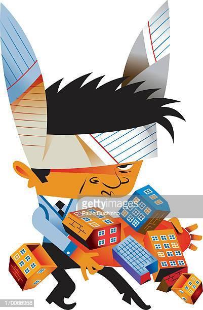 ilustrações de stock, clip art, desenhos animados e ícones de a real estate agent wearing bunny ears made of paper - buchinho