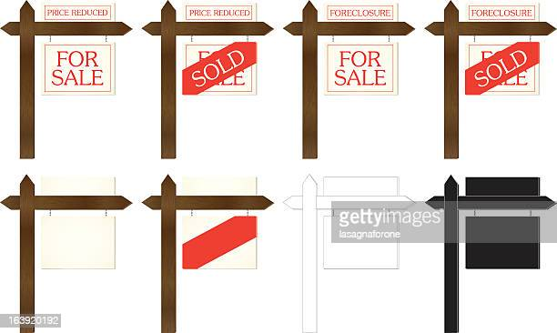 real estate signs - estate agent sign stock illustrations