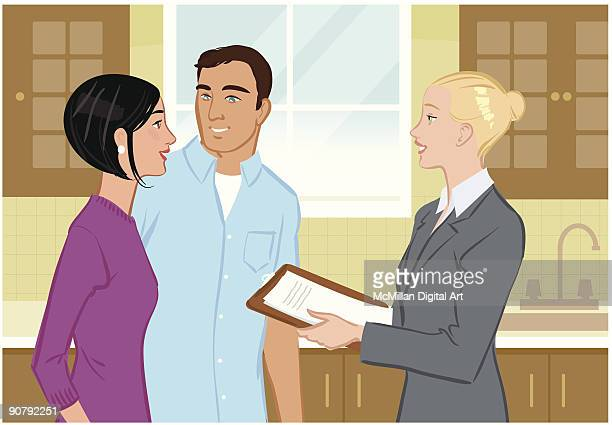realtor giving man and woman tour of home - updo点のイラスト素材/クリップアート素材/マンガ素材/アイコン素材