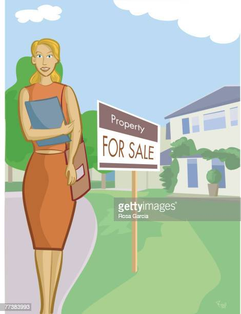 a realtor standing in front of a property - bungalow stock illustrations, clip art, cartoons, & icons