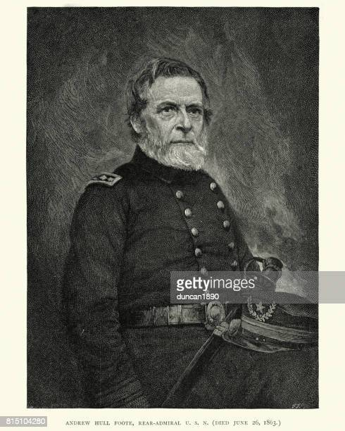 rear admiral andrew hull foote - us navy stock illustrations