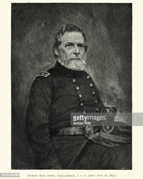 rear admiral andrew hull foote - us navy stock illustrations, clip art, cartoons, & icons