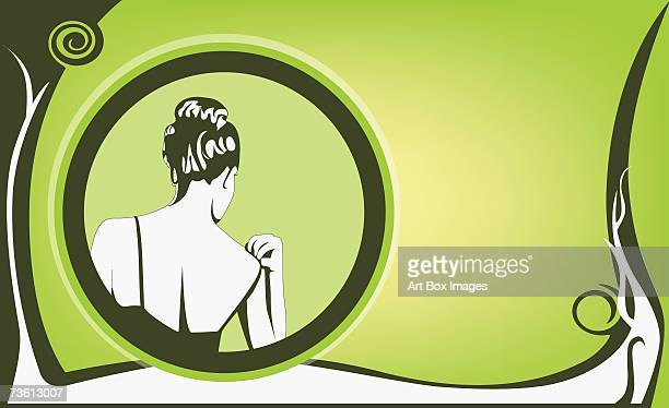 rear view of a woman adjusting her dress - updo stock illustrations, clip art, cartoons, & icons