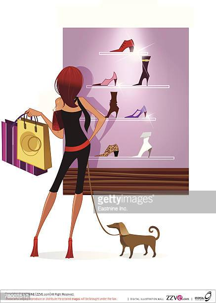 ilustraciones, imágenes clip art, dibujos animados e iconos de stock de rear view of a woman looking at sandals in the display cabinet of a store - display cabinet