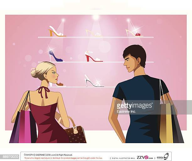 ilustraciones, imágenes clip art, dibujos animados e iconos de stock de rear view of man and woman standing by store - display cabinet