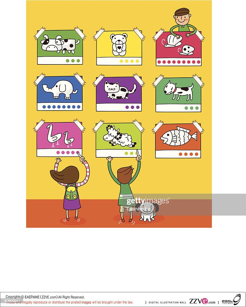 Rear View Of Two Girls And A Boy Pasting Posters On The Wall Vector ...