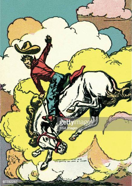 rearing hose and rider - american culture stock illustrations