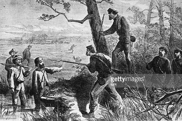 Rebel Confederate deserters make contact with the enemy behind Union lines during the American Civil War