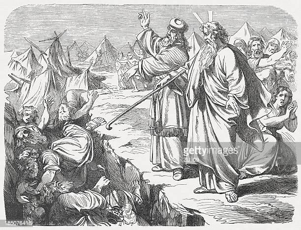 Rebellion of Korah (Numbers 16), wood engraving, published in 1877