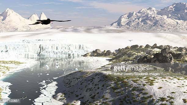 a receding glacial scene circa 18,000 years ago. - permafrost stock illustrations