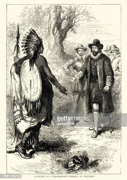 reception of a narragansett warrior by john winthrop - 1600s stock illustrations
