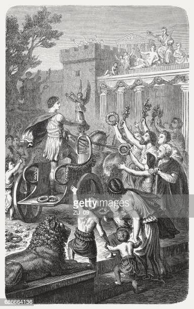 reception of an olympian winner in his hometown, published 1880 - ancient olympic games stock illustrations, clip art, cartoons, & icons