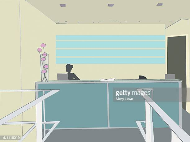 receptionist sitting behind a reception desk in an office - updo stock illustrations, clip art, cartoons, & icons