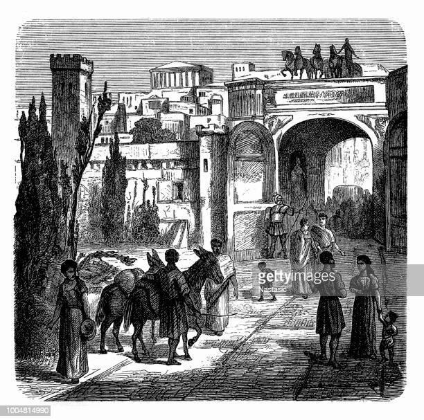 reconstructed port gate to the tyrrhenian sea, ancient roman city of pompeii - mt vesuvius stock illustrations, clip art, cartoons, & icons