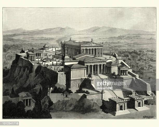 reconstruction of the acropolis of athens in ancient times - parthenon athens stock illustrations