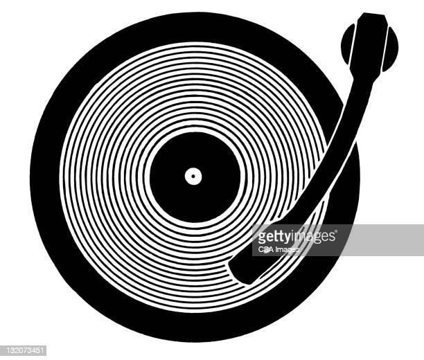 stockillustraties, clipart, cartoons en iconen met record player - vinylplaat