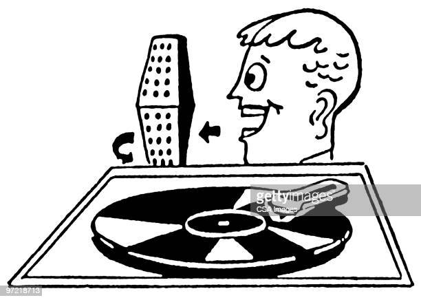 record player - one young man only stock illustrations