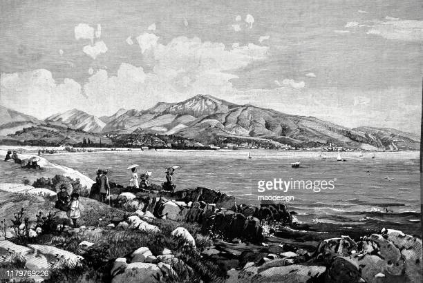 ilustrações, clipart, desenhos animados e ícones de recreação na costa do lago - 1887