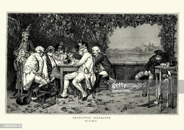 recruiting sergents tricking a drunk man into joining the army - 18th century stock illustrations