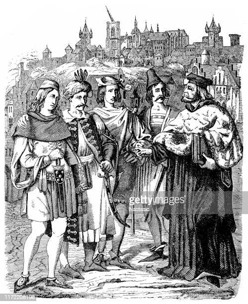 rector of the university of prague and students of various nationalities in middle ages - circa 14th century stock illustrations