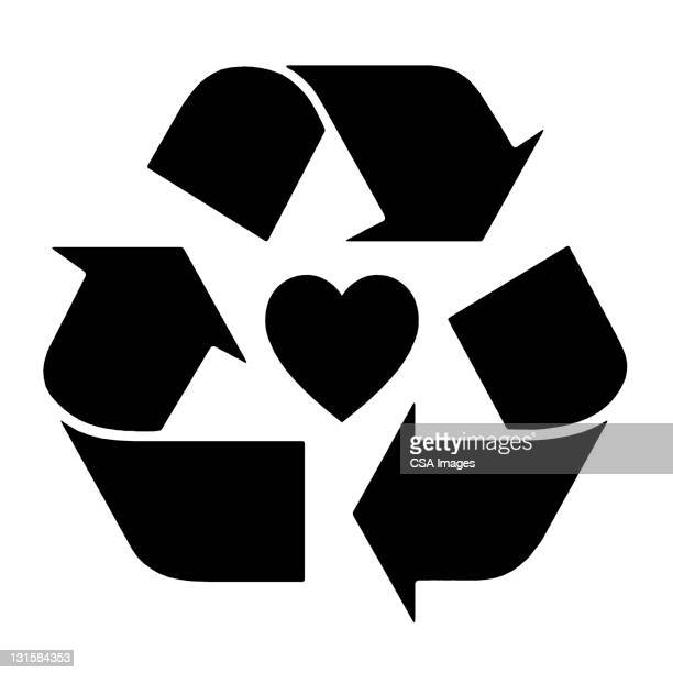 recycle heart - heart symbol stock illustrations