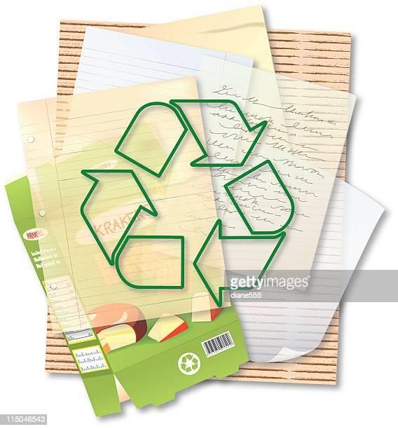 ilustrações, clipart, desenhos animados e ícones de reciclar papel & fibras - papelão papel