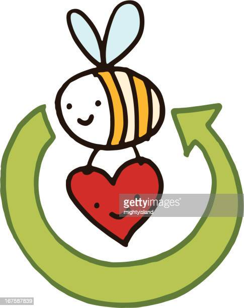 recycling bee with arrow and love heart - bumblebee stock illustrations, clip art, cartoons, & icons