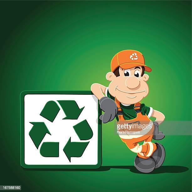 ilustrações de stock, clip art, desenhos animados e ícones de sinal de reciclagem homem inclinar-se - gari