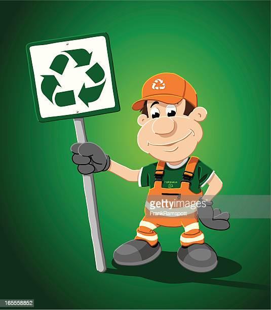 ilustrações de stock, clip art, desenhos animados e ícones de homem de reciclagem - gari