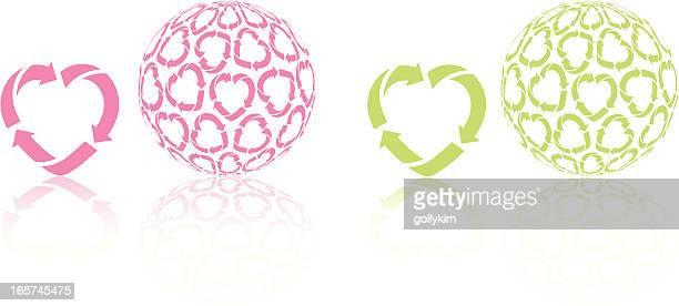 ilustrações de stock, clip art, desenhos animados e ícones de coração de reciclagem ícone e globo - símbolo de reciclagem